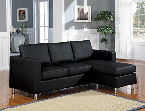 1PerfectChoice Kemen Black Bycast PU Reversible Sectional Sofa