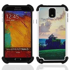 """SAMSUNG Galaxy Note 3 III / N9000 / N9005 - 3 en 1 impreso colorido de Altas Prestaciones PC Funda chaqueta Negro cubierta gel silicona suave (Green Hills Sky View Rosa"""")"""