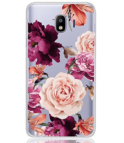 Galaxy J4 2018 Case, Galaxy J4 Case with flowers BAISRKE Slim Shockproof Clear Floral Pattern Soft Flexible TPU Back Cove for Samsung Galaxy J4 2018/J400 [Purple flowers]