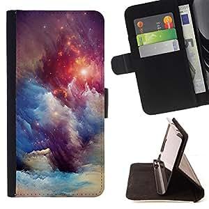 Ihec-Tech / Negro Flip PU Cuero Cover Case para Samsung Galaxy Core Prime - Univers Blue Stars Awe