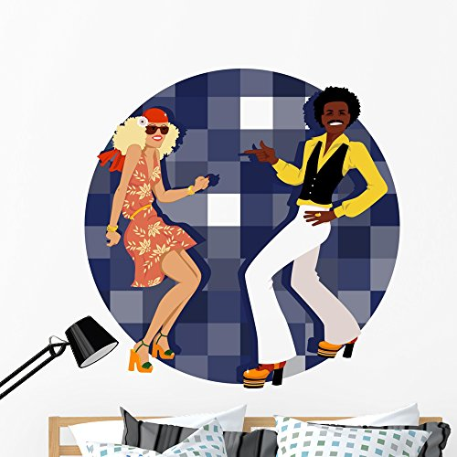Wallmonkeys Couple Dressed 1970s Fashion Wall Mural Peel and Stick Graphic (48 in H x 47 in W) WM366443 ()