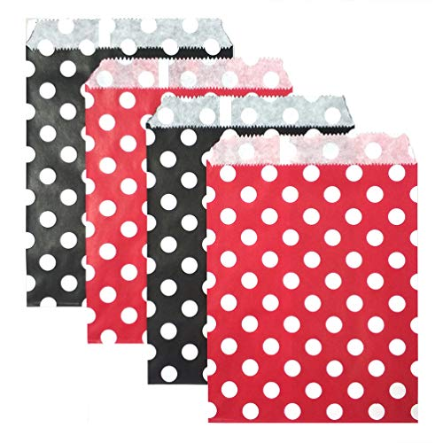KIYOOMY 100 Pcs Candy Buffet Bags Small Polka Dot Paper Treat Bags (Red and Black, 5 inch X 7 -
