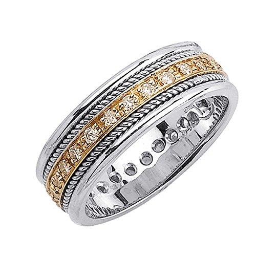 Braided Diamond Wedding Band (0.62ct TDW White Diamonds 14K Gold Braided Men's Wedding Band (G-H, SI1-SI2) (7mm) Size-12.5c4)