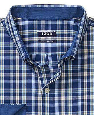 IZOD Men's Slim Fit Button Down Long Sleeve Stretch Performance Plaid Shirt