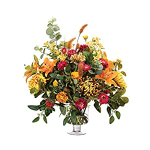 Petals Tiger Lily & Mums Silk Flower Centerpiece