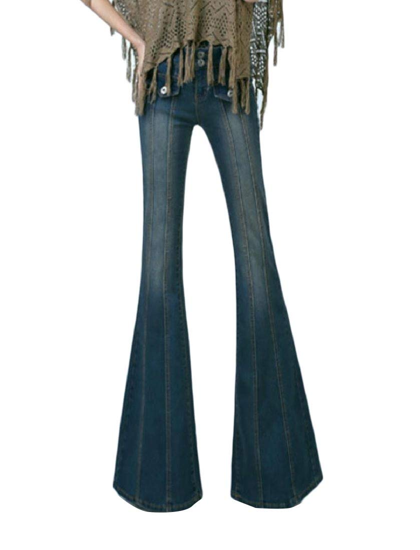 Women's Slim Fitting Bell-Bottoms Long Washed Fashion Ankle Jeans Dark Blue S