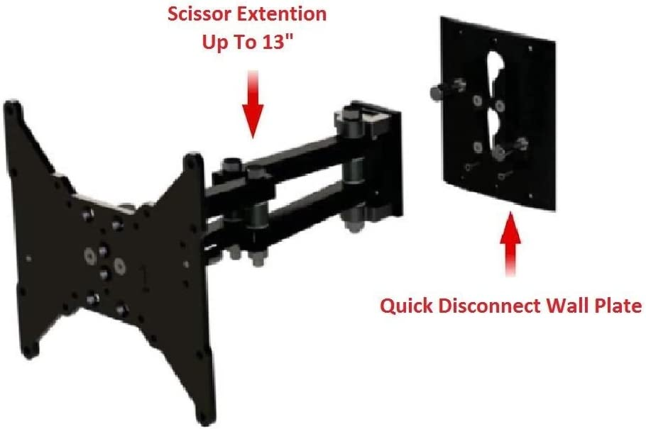 MSCSL12-QD TV Wall Mount Up to 42 Removable-Disconnect Arm Scissor, Pan, Lock RV, Home -3