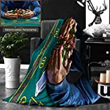 Ralahome Unique Custom Double Sides Print Flannel Blankets Poker Player Taking Poker Chips After Winning Super Soft Blanketry for Bed Couch, Twin Size 80 x 60 Inches