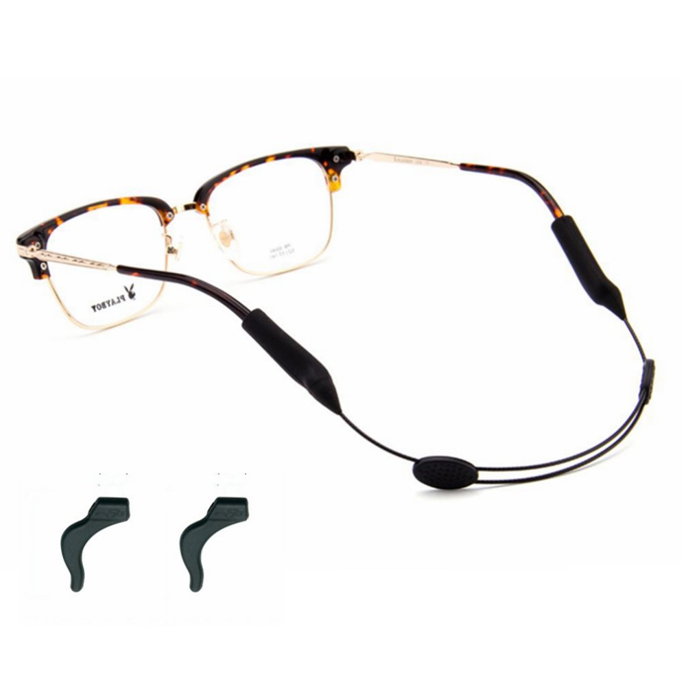 6806fe8a66 Amazon.com  YALEX Eyeglasses Strap Adjustable Eyewear Lanyard Sports  Eyeglasses Anti - Slip Hooks Anti (Black)  Health   Personal Care