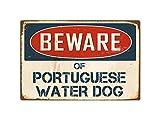 "Beware Of Portuguese Water Dog 8"" x 12"" Vintage Aluminum Retro Metal Sign VS340"