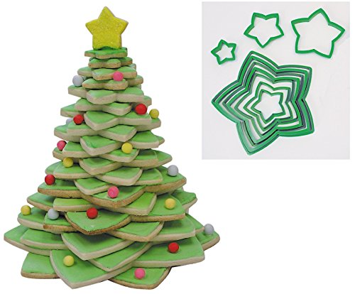 Star Dough Cutter (R&M International 5138 Star Tree Cookie Cutters to Make 3D Tree, 10-Piece Plastic Set)