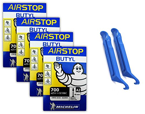 michelin-airstop-presta-valve-700-x-25-32c-40mm-bicycle-tube-4-tubes-2-park-tool-tire-levers