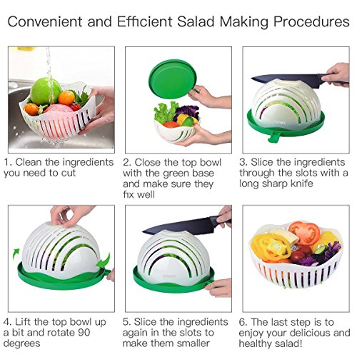 Salad Cutter Bowl, Ommani 60 Second Salad Maker Family Size Fast Vegetable Cutter Bowl, Salad Slicer Salad Chopper Strainer Cutting Board 4 in 1 Durable FDA-Approved for Kitchen by Ommani (Image #6)