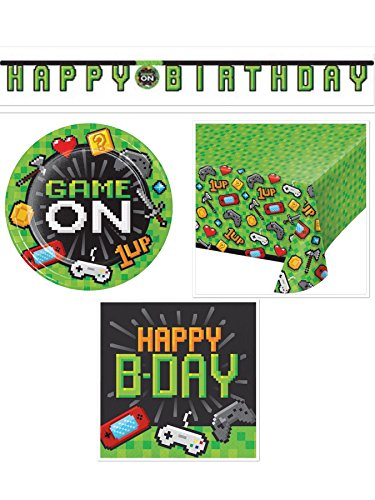 Gaming Birthday Party Bundle Supplies Serves 16: Plates + Napkins + Table Cover + Birthday Banner ()