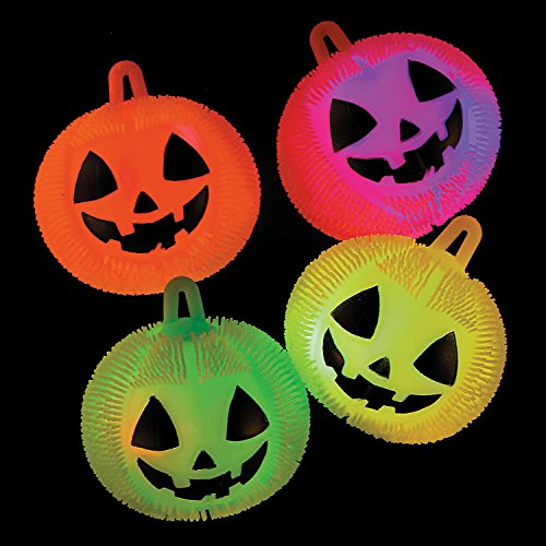 Fun Express - Light Up Jack O Lantern Puffers for Halloween - Toys - Value Toys - Light Up Toys - Halloween - 12 Pieces