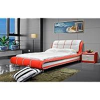 Greatime B1190 Modern Vinyl Platform Bed (Eastern King, Red&White)