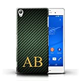 xperia z3 carbon case - Personalized Carbon Fibre Effect Case for Sony Xperia Z3 / Green Monogram Design / Initial/Name/Text DIY Cover
