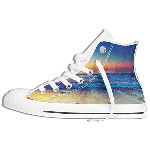 Classic High Top Sneakers Canvas Shoes Anti-Skid Sea Beach Sunset Casual Walking For Men Women White IFNibYB