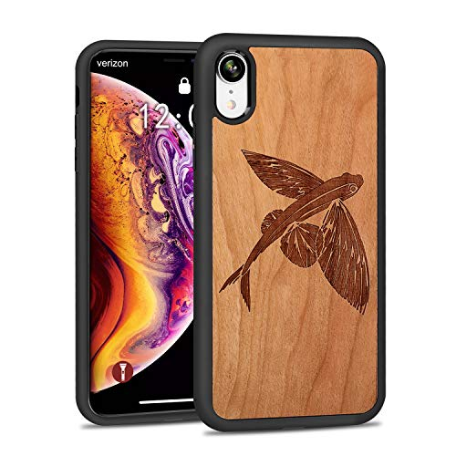 JUBECO iPhone XR Wood Case,Wooden Slim Anti-Shock Shockproof Cover for iPhone xr 6.1 (Flying Fish-Cherry) (Fish Phone Case Iphone 4)