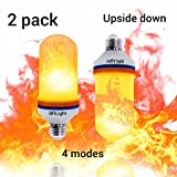 [2 Pack] Upside Down Feature Led Flame Effect Light Bulbs New Heat Sink Technology E26 105pcs 2835 LED Beads Decorative Light Atmosphere Lighting Vintage Flaming Lamp for Home
