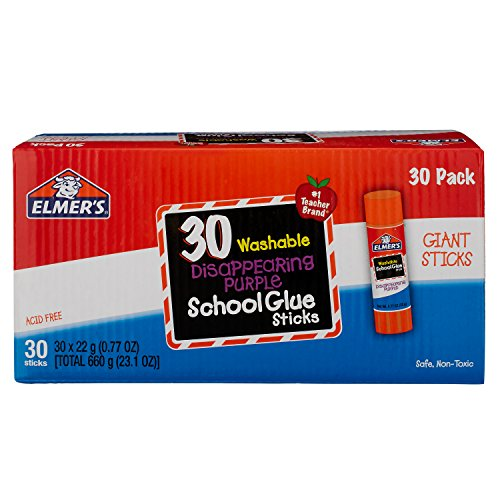 - Elmer's Disappearing Purple School Glue Sticks, Washable, 22 Gram, 30 Count (E605)