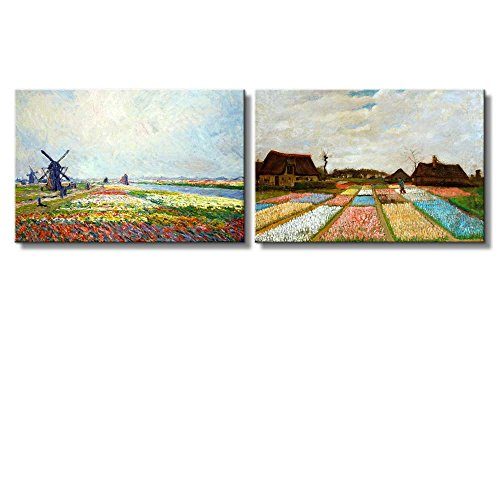 Tulip Fields near The Hague Bulb Fields by Vincent Van Gogh Oil Painting Reproduction in Set of 2 x 2 Panels