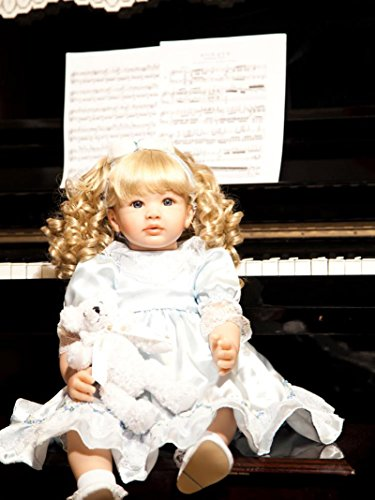 PURSUEBABY Soft Body Lifelike Reborn Toddler Princess Girl Doll with Curly Blonde Hair Sophia, 24 Inch Real Looking Toddler Dolls Snuggle for Girls