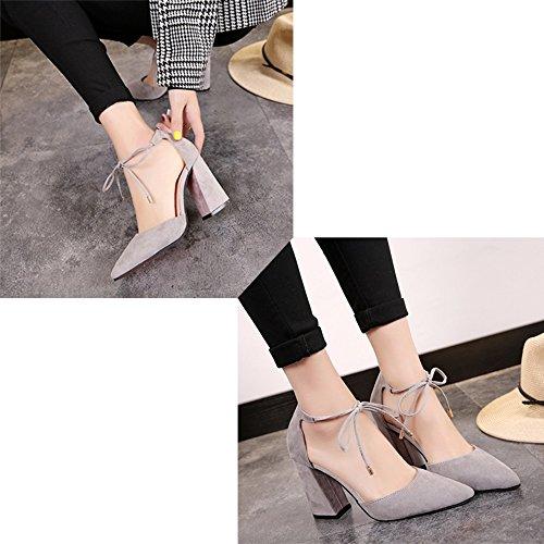 taille Chaussures rugueux Baotou Black hauts et dentelle tempérament Couleur 7cm 38 souligné 7cm talons 7cm avec a printemps des Gray été le nwSfxnU