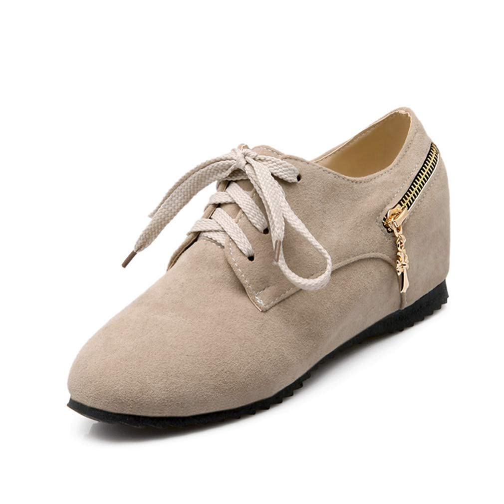 - Elsa Wilcox Women Lace Up Suede Hidden Mid Heel Vintage Dress Loafer shoes Round Toe Casual Wedge Oxford shoes Beige