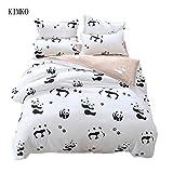 Kimko Child Panda Bedding Set-4Pcs Kids Cartoon 3D Oil Print Lightweight White and Black Panda Animal Pattern -1 Duvet Cover Set + 1 Bed Sheet + 2 Pillowcases (Twin)