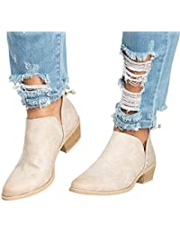 Women's Casual Ankle Booties Cut Out Slip on Low Heel...