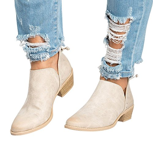 Hunleathy Women's Casual Ankle Boots Cut Out Slip On Low Heel Short Boots Beige
