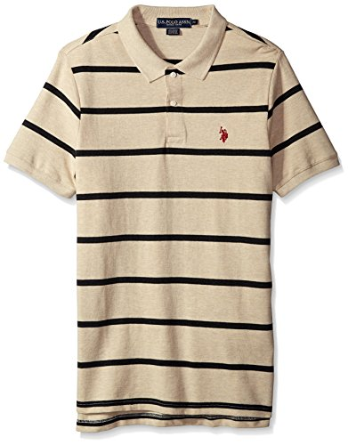 Mens Stripe Classic Shirt (U.S. Polo Assn. Men's Classic Fit Stripe Short Sleeve Pique Polo Shirt, 6454-Oatmeal Heather, S)
