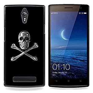 - Skull Crystal Silver Crossbones Black - - Snap-On Rugged Hard Cover Case Funny HouseFOR Oppo Find 7 X9007
