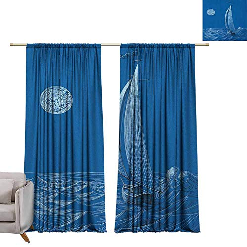 berrly Shades Window Treatment Valances Curtains Sailboat Nautical,Night Sea View Sail Boat in Moonlight Wavy Nautical Ship Illustration, Violet Blue W72 x L84 Thermal Insulated Blackout Curtains