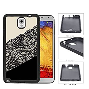 Elegant Ivory Black Floral Lace Color Block Rubber Silicone TPU Cell Phone Case Samsung Galaxy Note 3 III N9000 N9002 N9005