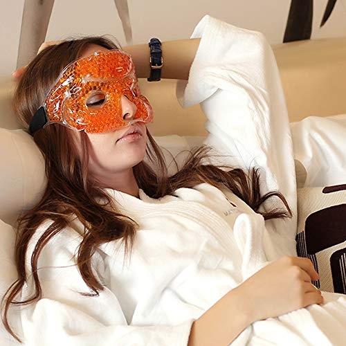 iBest - Orange Cold and Hot Therapy Gel, Eye Mask, Sleep Mask, Sleeping Mask for Women, Hot Cold Pack (Orange)