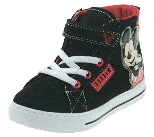 Image of Disney Mickey Mouse Boys Hi Top Canvas Sneakers Toddler/Little Kid Black/Red