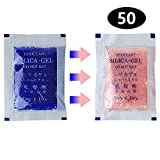 IFAXF [50 Packs] 5 Gram Blue Premium Indicating(Blue to Pink) Silica Gel Packets - Rechargeable(Upgraded)