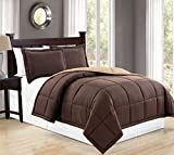 Alternative Comforter - Mk Collection Down Alternative Comforter Set 2 pc twin Revirsible Solid Brown/Taupe New