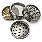 Herb Grinder , 4 Piece , Large 2.4 inch Width 1.6 inch Height , Great for Grinding Dry Herbs , Tobacco , Cookies to Sprinkle on Ice cream (Gun Metal)