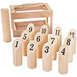 Hey! Play! Wooden Throwing Game-Complete Set, 12 Numbered Pins, Throwing Dowel, Carrying Crate-Outdoor Lawn Games Adults Kids