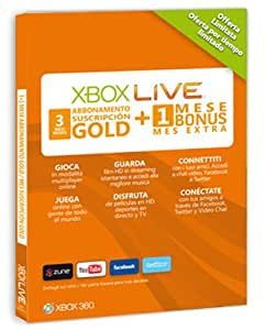 Microsoft Xbox 360 - Tarjeta Live 3 Meses Gold + 1 Mes