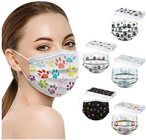 【USA in Stock 】 50PCS Adults Dog Paw Printing Disposable Face Masks for Women Men with Designs Patterned Printed Cute Mask,Fashion Personalized Unisex Dust-Proof Full Face Protections with Nose Clip