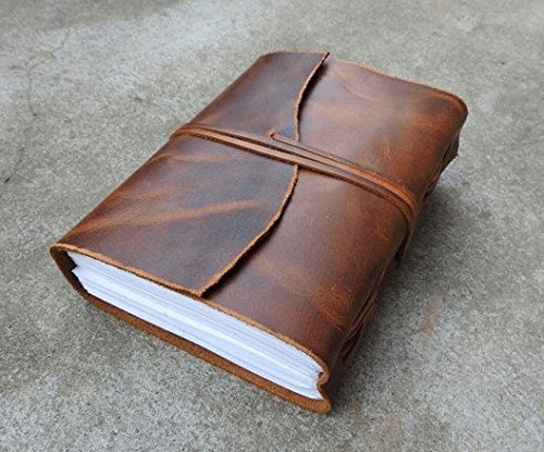 Vintage Genuine Crazy-Horse Wax Leather Journal (Handmade) – Leather Cord Coptic Bound and leather tie closure – 20% OFF SALES