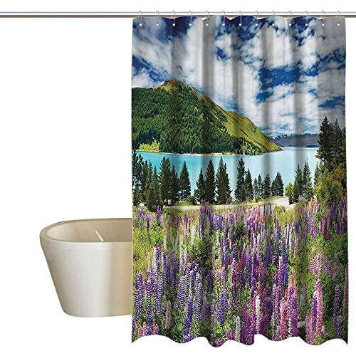 MaryMunger Apartment Decor Collection Hotel Style Shower Curtain Mountain Lake and Colorful Flowers Blossom Pine Trees New Zealand Lakeside View Shower stall Curtain W108 x L72 Purple Pink ()