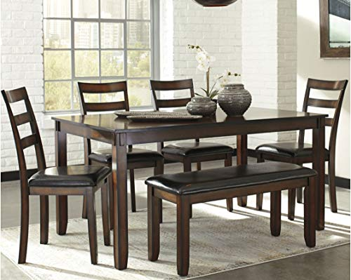 home & kitchen, furniture, kitchen & dining room furniture,  table & chair sets  image, Ashley Furniture Signature Design » Coviar Dining Room Table and Chairs with Bench (Set of 6) » Brown promotion5