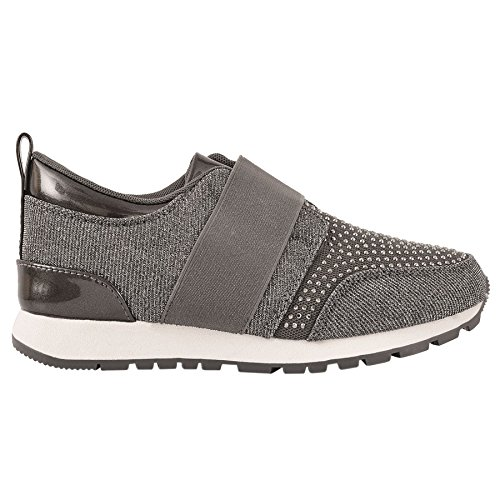 Damas PURPURINA DIAMANTE Metálico Zapatillas Moda Sin Cordones Casual Gimnasio Zapatos número Dark Grey Glitter