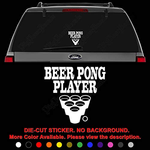 Beer Pong Player Die Cut Vinyl Decal Sticker for Car Truck Motorcycle Vehicle Window Bumper Wall Decor Laptop Helmet Size- [6 inch] / [15 cm] Wide || Color- Gloss White