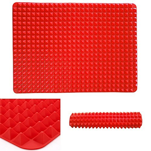 Professional Heat-Resistant Pyramid Silicone Baking Mat Cooking Sheets for Biscuits, Chicken and more Fuctions Non-stick Fat-reducing 16 inch x 11.5 inch
